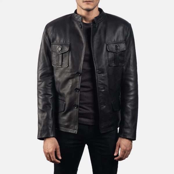 Ray Cutler Black Leather Blazer for Men