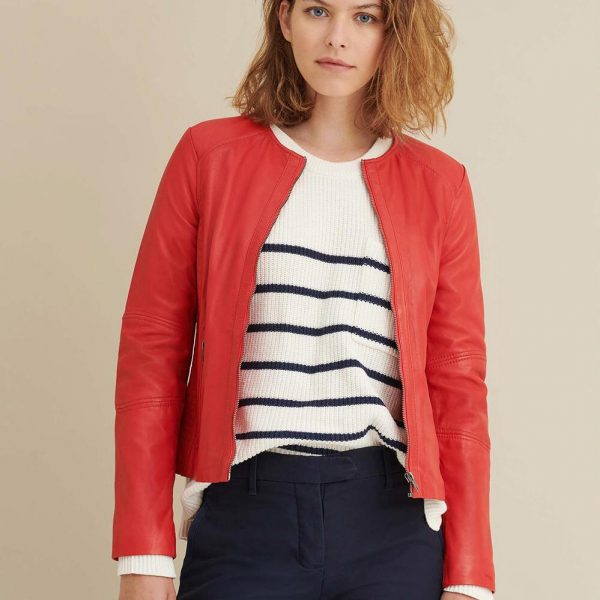 Red Leather Jacket with Side Stitching for Women