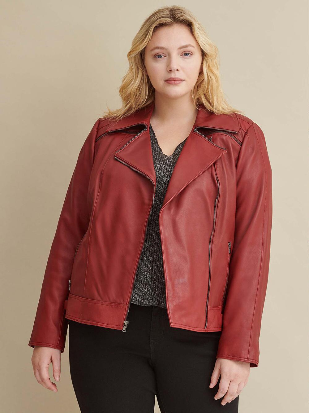 Red Leather Jacket with Zipper For Women