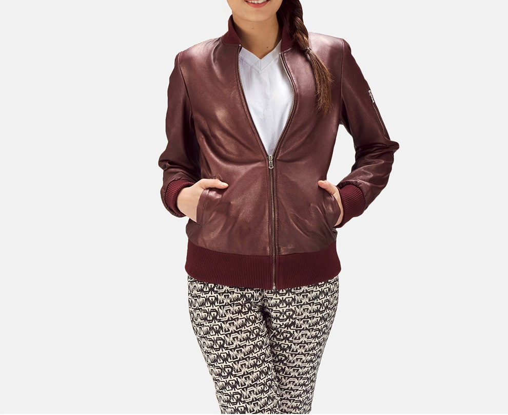 Reida Maroon Leather Bomber Jacket for Women
