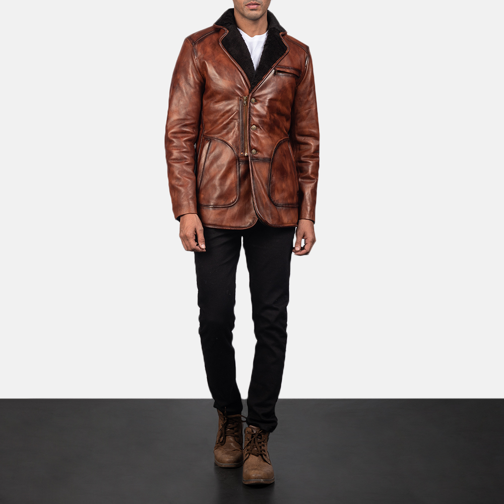 Rocky Brown Fur Leather Coat for Men