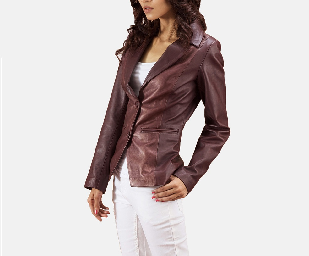 Ruby Metallic Maroon Leather Blazer for Women