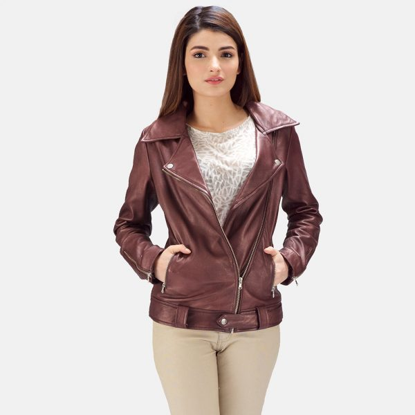 Rumy Maroon Leather Biker Jacket for Women