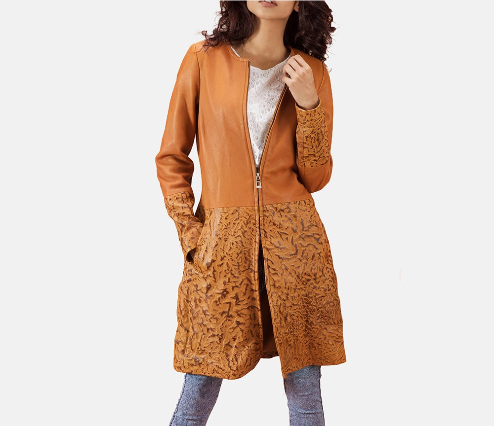 Sandy Tan Dye Leather Coat for Women