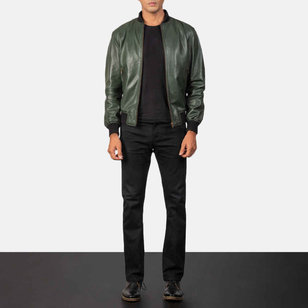 Shane Green Leather Bomber Jacket for Men