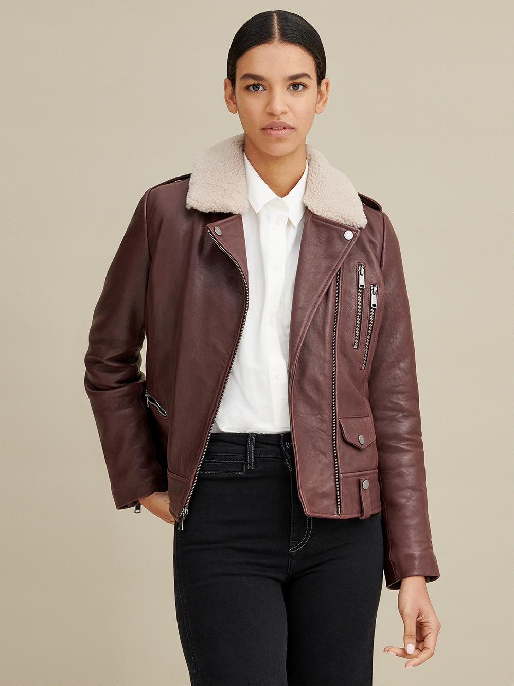 Shearling Collar Leather Jacket for Women