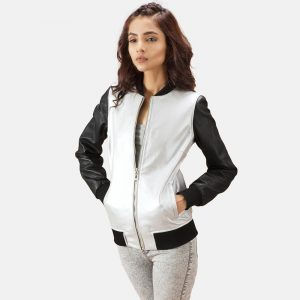 Silver Leather Bomber Jacket for Women