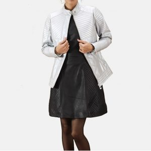 Silver Quilted Leather Biker Jacket for Women