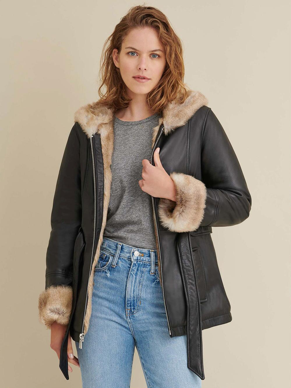 Skin Fur Belted Leather Jacket for Women