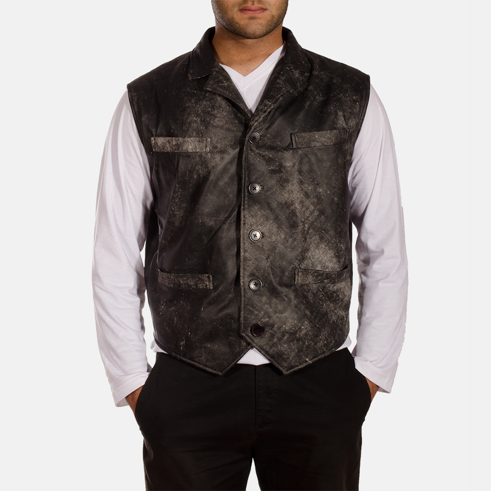 Solaride Distressed Leather Vest for Men