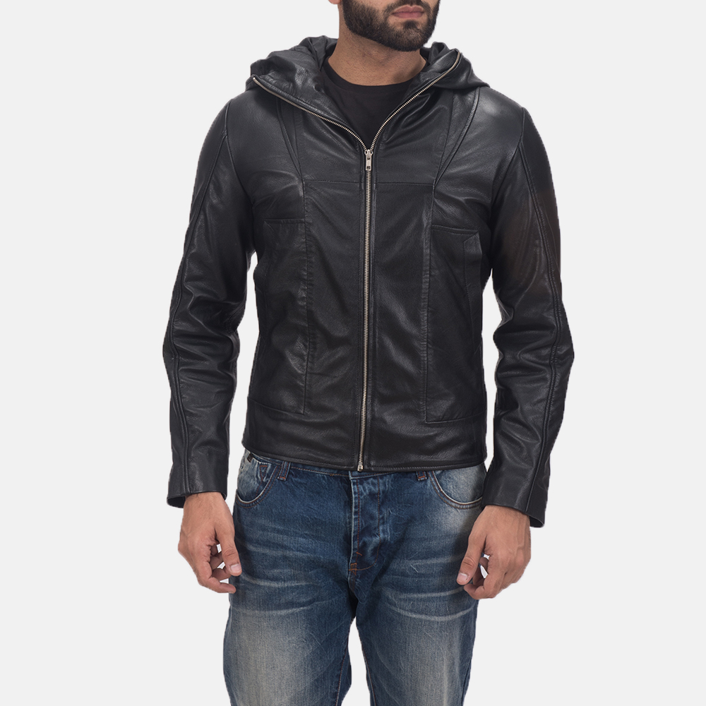 Spratt Black Hooded Leather Jacket for Men