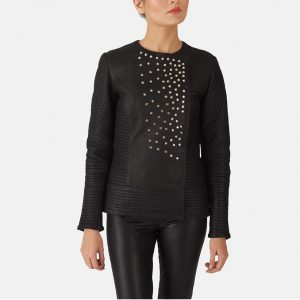 Studded Black Leather Jacket for Women