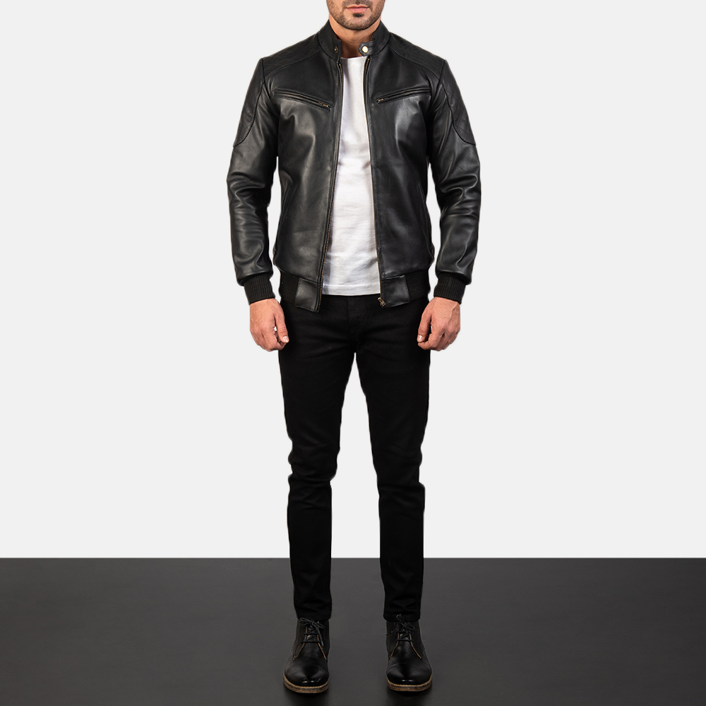 Sven Black Leather Bomber Jacket for Men