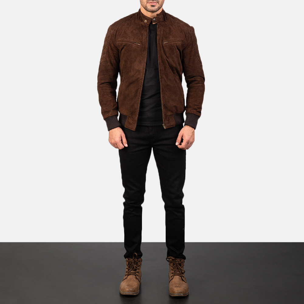 Sven Mocha Suede Bomber Jacket for Men