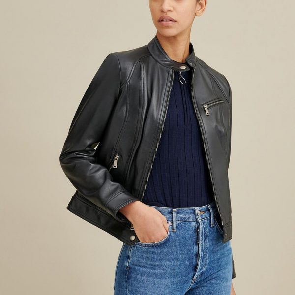 Tab Collar Leather Jacket for Women