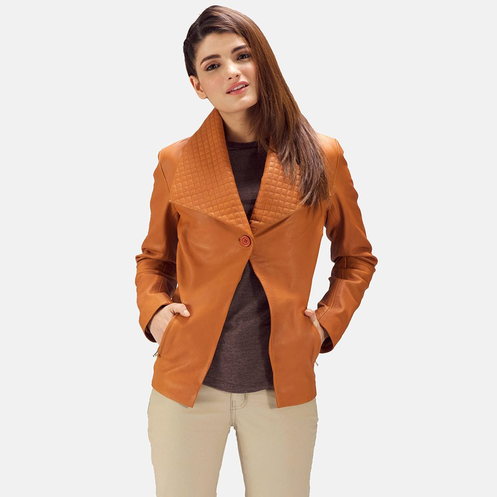 Tan Brown Leather Blazer for Women