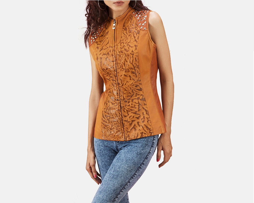 Tan Dye Leather Vest for Women