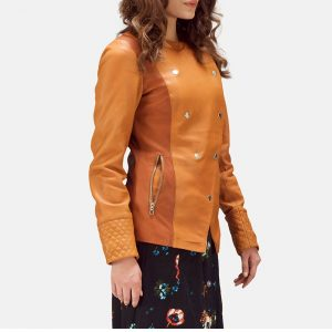Tan Overlap Leather Jacket for Women