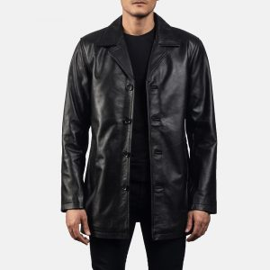 Urban Slate Black Leather Coat for Men