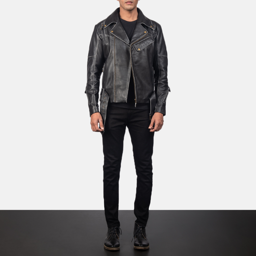 Vincent Black Leather Biker Jacket