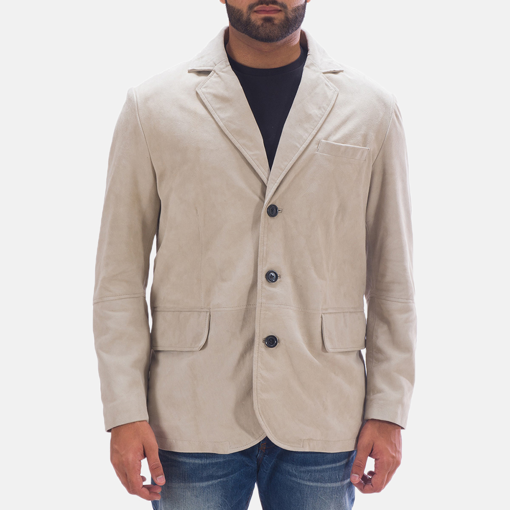 White Day Suede Blazer for Men