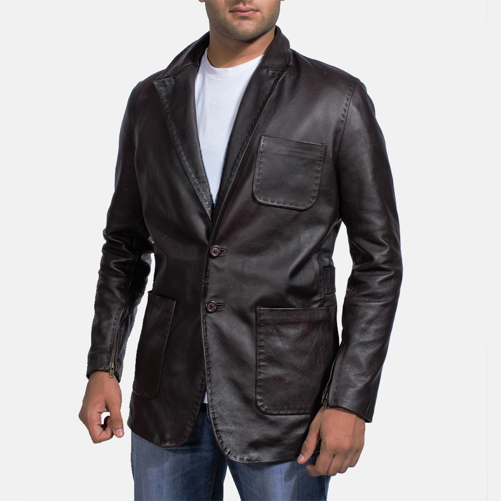 Wine Black Leather Blazer for Men