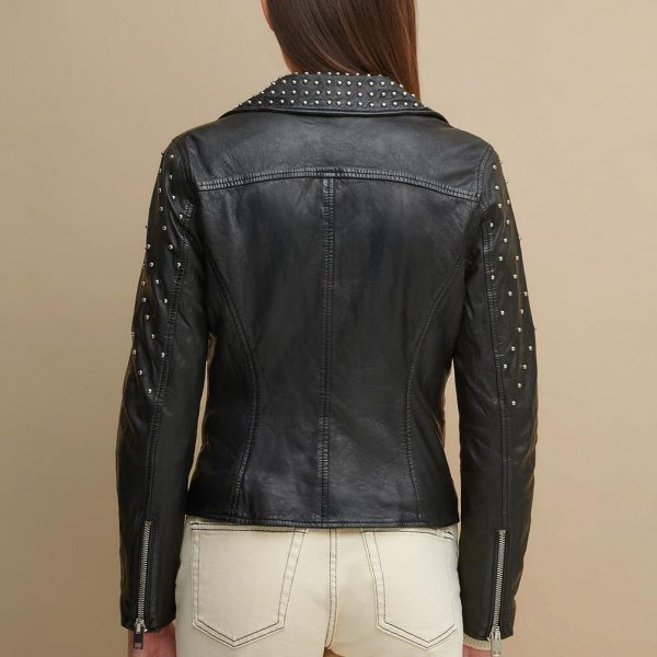 best Black Leather Jacket With Metal Studs for Women