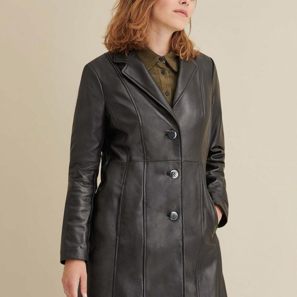best Button Down Lamb Leather Trench for Women