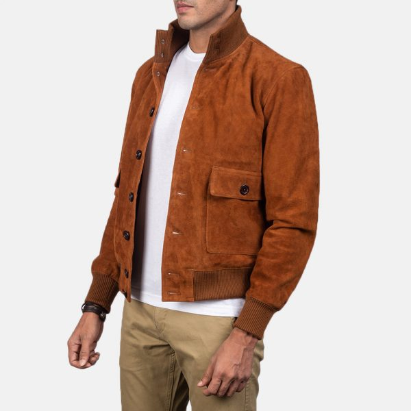 Best Eaton Brown Suede Bomber Jacket for Men