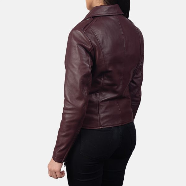best Flashback Maroon Leather Biker Jacket for Women
