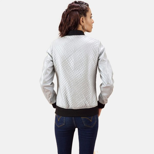 best Lana Silver Leather Bomber Jacket for Women