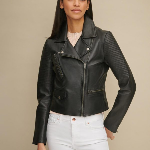 best Leather Jacket with Shoulder Quilt Detail for Women