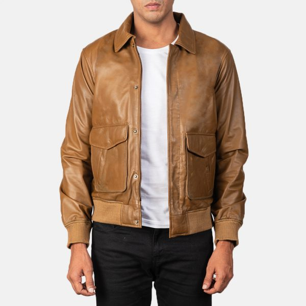 best Olive Brown Leather Bomber Jacket