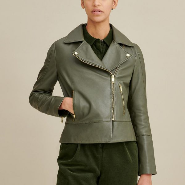 Olive Moto Leather Jacket for Women