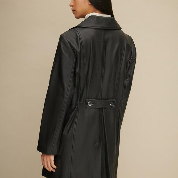 best Plus Size Button Front Leather Trench for Women