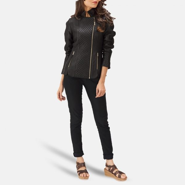best Quilted Black Leather Biker Jacket for Women