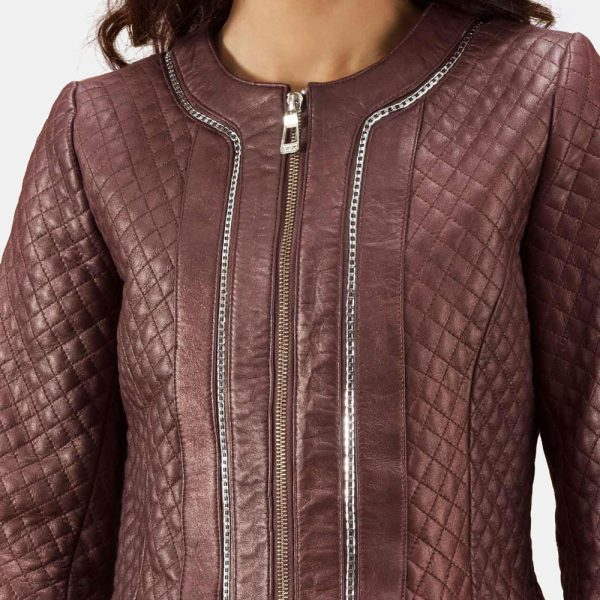 best Quilted Maroon Leather Coat for Women