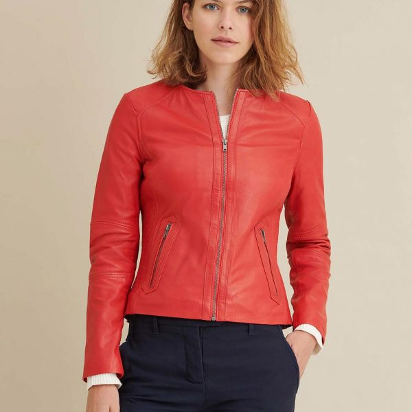 new Red Leather Jacket with Side Stitching for Women