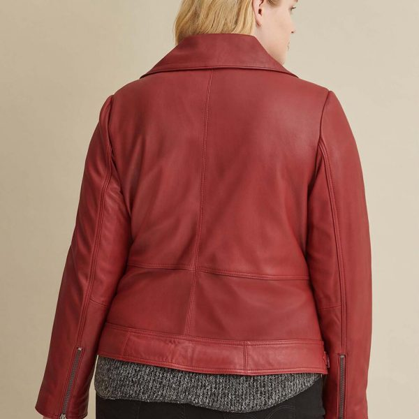 best Red Leather Jacket with Zipper For Women