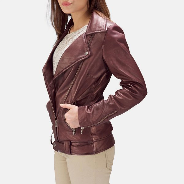 best Rumy Maroon Leather Biker Jacket for Women