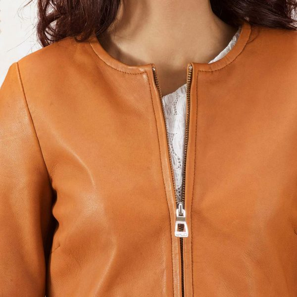 best Sandy Tan Dye Leather Coat for Women