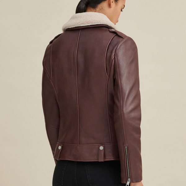 best Shearling Collar Leather Jacket for Women