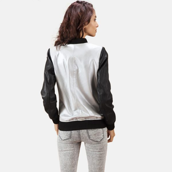 best Silver Leather Bomber Jacket for Women