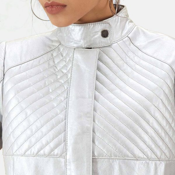best Silver Quilted Leather Biker Jacket for Women