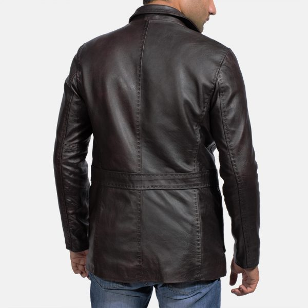 best Wine Black Leather Blazer for Men