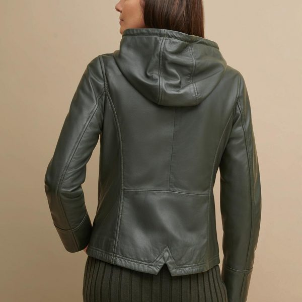 best Classic Green Hooded Leather Jacket for Women