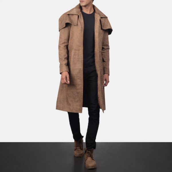 latest Army Brown Leather Duster for Men