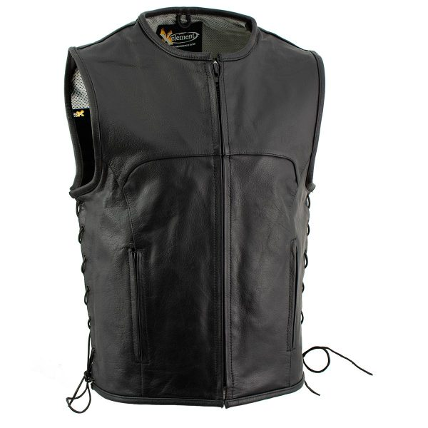 latest Black Advanced Collarless Leather Motorcycle Vest for Men