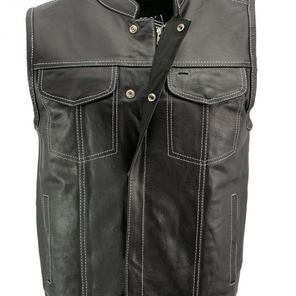 latest Black Leather Motorcycle Vest with White Stitching for Men