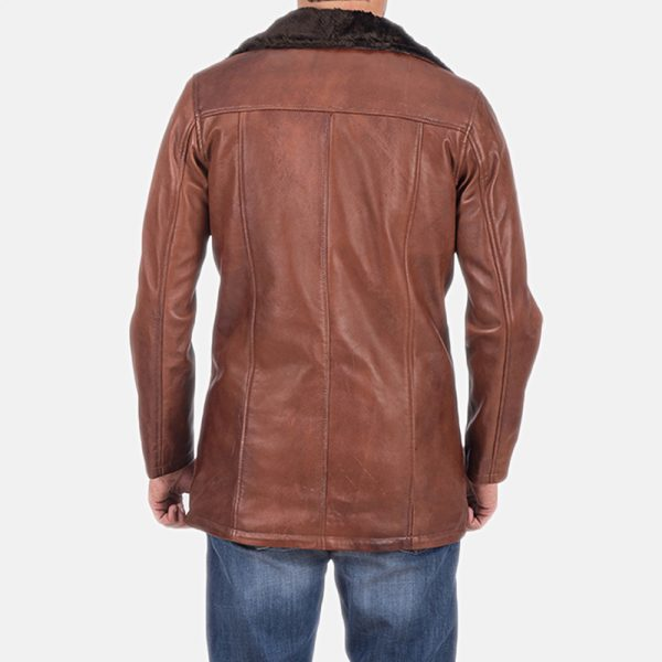 latest Cinnamon Brown Leather Fur Coat for Men